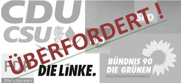 Die Parteien CDU/CSU, FDP, Linke, Grüne, SPD und AfD zeigen sich mit unseren Wahlprüfsteinen überfordert.